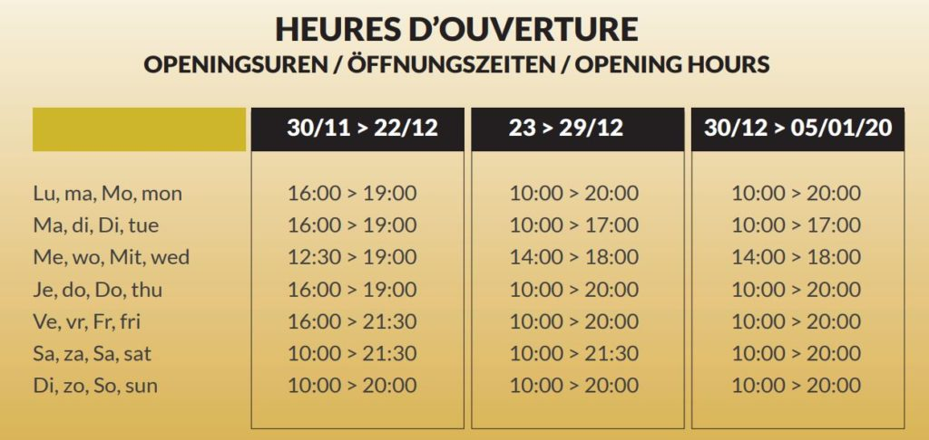 Opening hours of the Malmedy ice rink